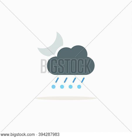 Rain, Hail, Cloud And Moon. Color Icon With Shadow. Weather Glyph Vector Illustration