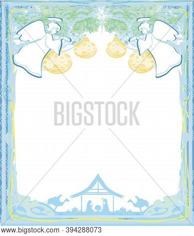 Christmas Angels. Christmas Religious Nativity Scene Card , Vector Illustration