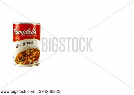 Dunn County, Wi / Usa  -  November 10 / 2020: Can Of Campbell's Minestrone Soup. Isolated On A White