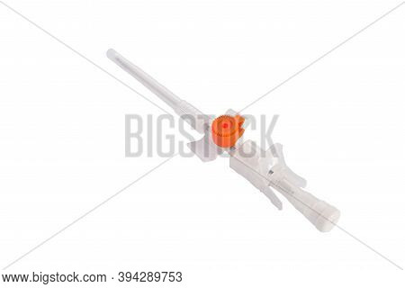 Medical Catheter For Intravenous Infusion, Modified. Isolate On A White Background