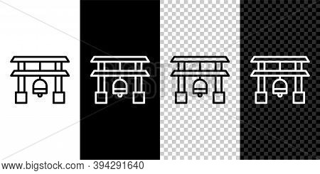Set Line Japan Gate Icon Isolated On Black And White Background. Torii Gate Sign. Japanese Tradition