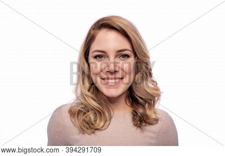 Happy Smiling Blonde Woman. Isolated On White.