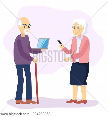 Gadgets Help Grandparents. Family Studying Online Using Their Computer Watching Gadgets. Vector Flat