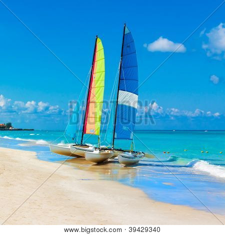 Catamarans with their colorful sails spread out on Varadero beach in Cuba poster