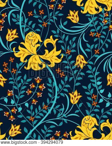 Futuristic Floral Seamless Pattern With Big Flowers, Tulips And Foliage On Dark Background. Blue Fol
