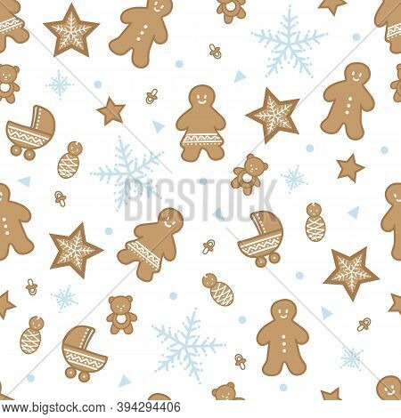 Vector Baby Gingerbread Figures Seamless Pattern Background.