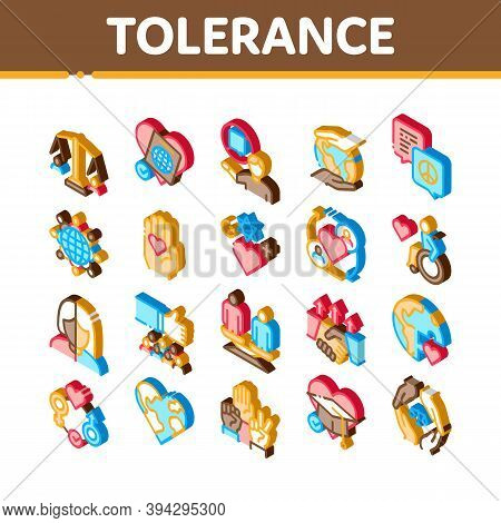 Tolerance And Equality Icons Set Vector. Isometric Tolerance For Different Religion And Race, People