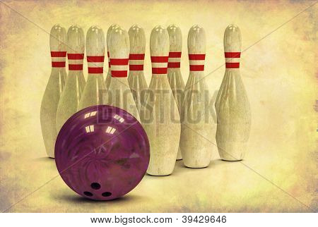 Grunge Bowling Ball And Pins
