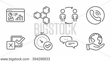 Call Center, Save Planet And Dots Message Line Icons Set. Checkbox, Chemical Formula And Fast Verifi