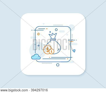 Money Bag With Coins Line Icon. Abstract Square Vector Button. Cash Banking Currency Sign. Dollar Or