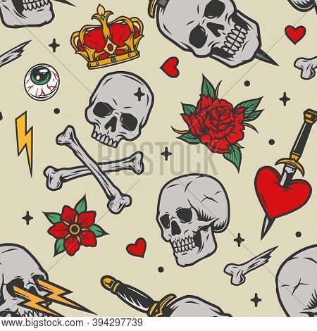 Colorful Vintage Tattoos Seamless Pattern With Royal Crown Human Eye Lightning Crossbones Flowers Sk
