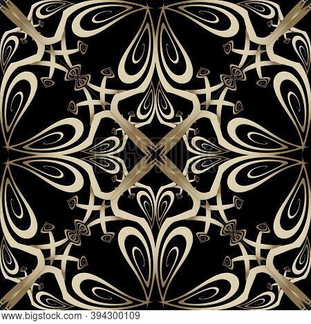 Ornate Gold Arabesque Paisley Vector Seamless Pattern. Floral Ornamental Vintage Background. Ethnic