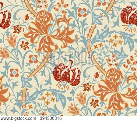 Vintage Floral Seamless Pattern With Big Flowers, Lily And Foliage On Light Background. Middle Ages
