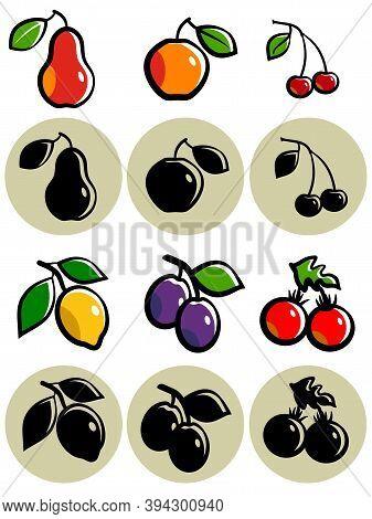 Set Of Stylized Fruits.  Set Of Stylized Sketch Fruits. Various Stylized Fruits Isolated On White Ba