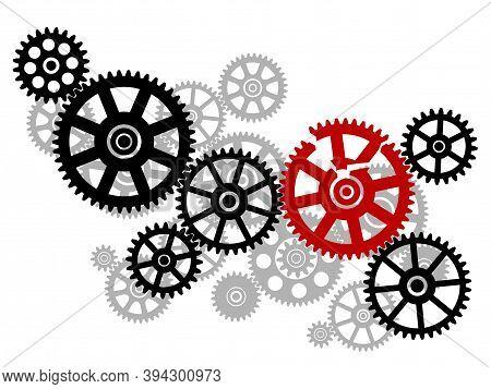 Broken Gear In The Mechanism. Black Silhouette Gears On A White Background. Broken Mechanism Image.