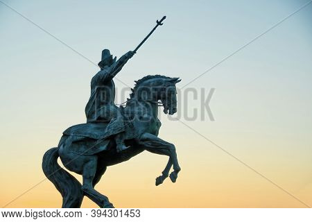 Kazakhstan, Petropavlovsk August 30, 2020: Monument To The Statue Of Abylai Khan In Kazakhstan.
