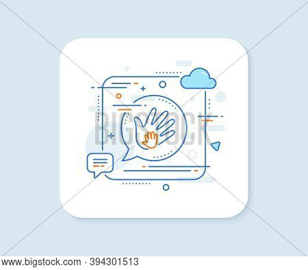 Hand Line Icon. Abstract Square Vector Button. Social Responsibility Sign. Honesty, Collaboration Sy