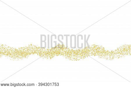 Wavy Strip Sprinkled With Crumbs Golden Texture. Horizontal Background Gold Dust On A White Backgrou