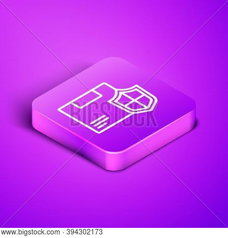 Isometric Line Delivery Security With Shield Icon Isolated On Purple Background. Delivery Insurance.