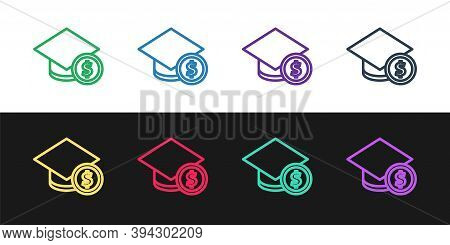 Set Line Graduation Cap And Coin Icon Isolated On Black And White Background. Education And Money. C