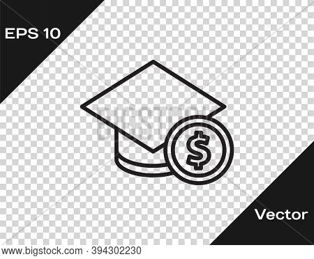 Black Line Graduation Cap And Coin Icon Isolated On Transparent Background. Education And Money. Con