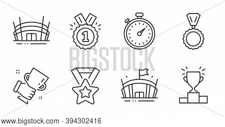 Winner Podium, Arena And Medal Line Icons Set. Winner Cup, Arena Stadium And Timer Signs. Approved S
