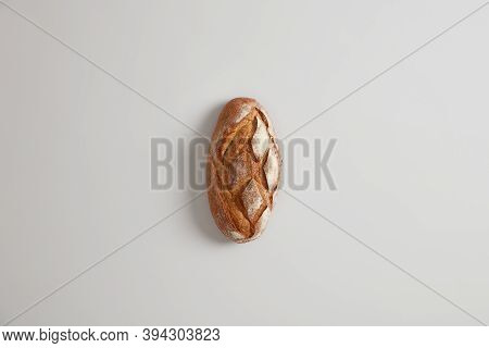 Tasty Homemade Handmade Nourishing Peasant Bread On White Background. Bakery And Food Concept. Flat