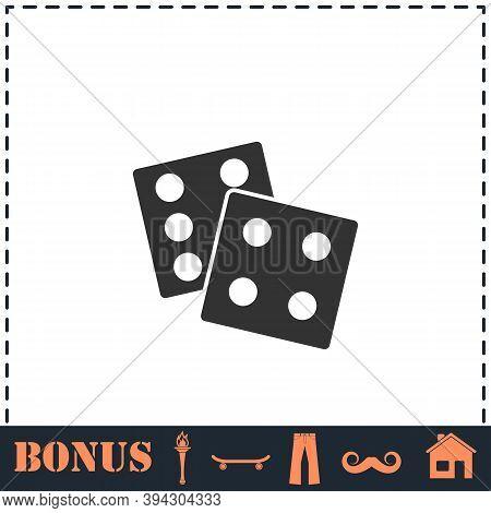 Dices Icon Flat. Simple Vector Symbol And Bonus Icon