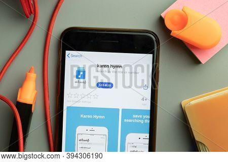 New York, United States - 7 November 2020: Phone Screen Close-up With Karen Hymn Mobile App Logo On