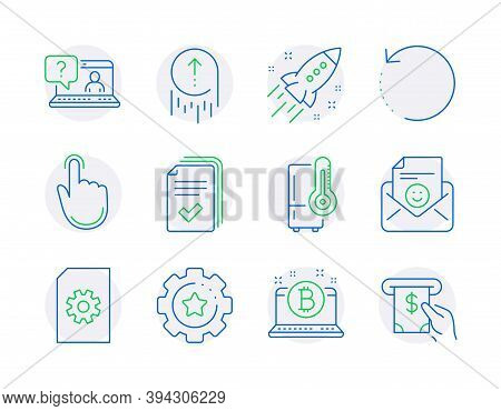 Technology Icons Set. Included Icon As Recovery Data, Handout, Faq Signs. Refrigerator, Swipe Up, Sm