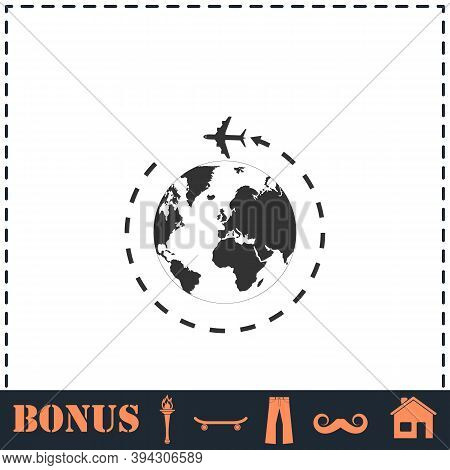 Around World Icon Flat. Simple Vector Symbol And Bonus Icon