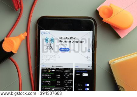 New York, United States - 7 November 2020: Phone Screen Close-up With Rfinder Ww Repeater Directory