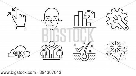 Anti-dandruff Flakes, Face Recognition And Quick Tips Line Icons Set. Winner, Decreasing Graph And T