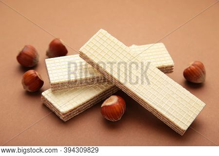 Wafers, Cookies And Sweets Concept With Hazelnut, Chocolate And Vanilla Filled Wafer Stack With Raw