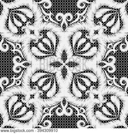 Textured Embroidery White Vector Seamless Pattern. Ornamental Ethnic Lace Background. Grunge Paisley