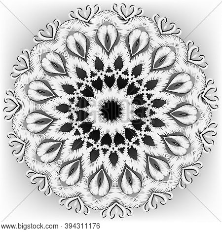 Embroidery Round Floral Mandala Pattern. Vector Textured Black And White Background. Tapestry Grunge
