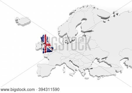 3d Europe Map With Marked Borders - Area Of Great Britain Marked With Great Britain Flag - Isolated