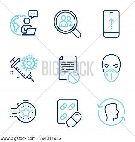 Science Icons Set. Included Icon As Capsule Pill, Coronavirus Vaccine, Wrong File Signs. Timer, Medi