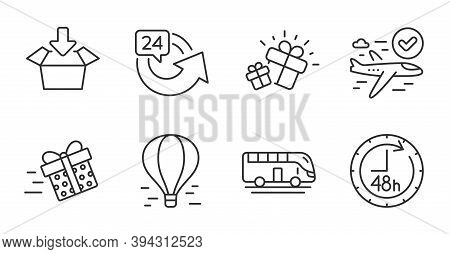 Bus Tour, Confirmed Flight And Gift Line Icons Set. 48 Hours, Air Balloon And Get Box Signs. 24 Hour