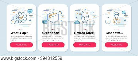 Set Of Line Icons, Such As Parcel, Health Skin, Service Symbols. Mobile Screen Mockup Banners. Busin