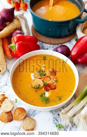 Bowl Of Hearty Potato Soup With Fresh Vegetables