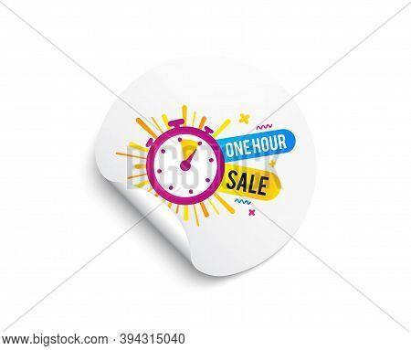 One Hour Sale Banner. Circle Sticker With Offer Banner. Discount Sticker Shape. Special Offer Timer