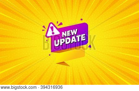 New Update Paper Banner. Yellow Background With Offer Message. Important Message Tag. Exclamation Ma