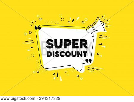 Super Discount Symbol. Megaphone Yellow Vector Banner. Sale Sign. Advertising Discounts Symbol. Thou