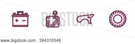 Set Line Car Battery, Fender, Gear Shifter And Tire Icon. Vector