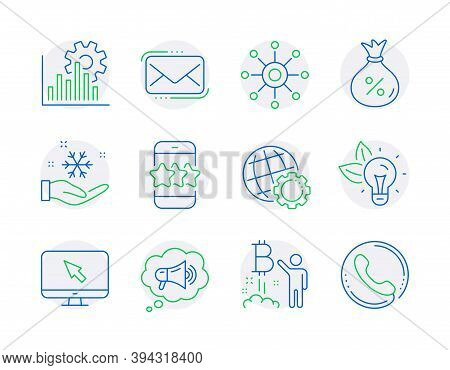 Technology Icons Set. Included Icon As Eco Energy, Seo Graph, Loan Signs. Bitcoin Project, Messenger
