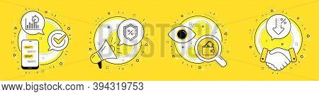 Wallet, Loan Percent And Report Timer Line Icons Set. Cell Phone, Megaphone And Deal Vector Icons. L