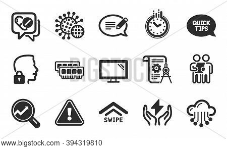 Divider Document, Swipe Up And Coronavirus Icons Simple Set. Ram, Quickstart Guide And Message Signs