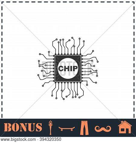 Chip Icon Flat. Simple Vector Symbol And Bonus Icon
