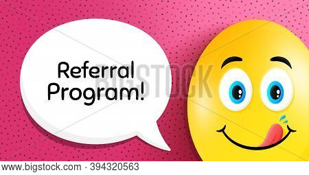 Referral Program Symbol. Easter Egg With Yummy Smile Face. Refer A Friend Sign. Advertising Referenc